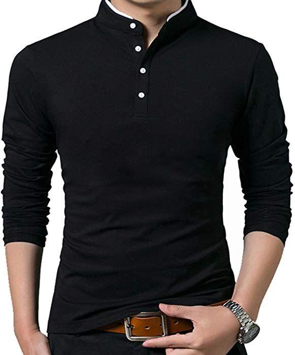 192ebdf4570b KUYIGO Men's Casual Slim Fit Long Sleeve Henley T Shirts Cotton Shirts (US  Small, 01 Black) at Amazon Men's Clothing store: