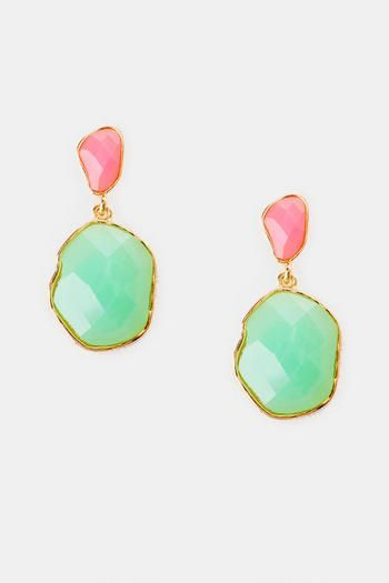 Jeweled Dangle Earrings like these are bright and warm spring andsummer colors and look high end at any occassion @coral_and_teal