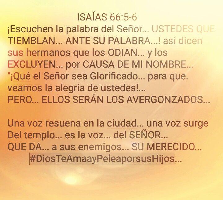 Isaias 66:5-6 #DiosTeAmaayPeleaporsusHijos...