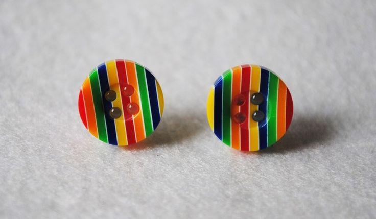 Gestreepte knop oorbellen  van DUDO ACCESSOIRES op DaWanda.com