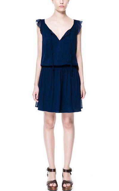DRESS WITH LACED NECKLINE - Dresses - TRF - ZARA United States