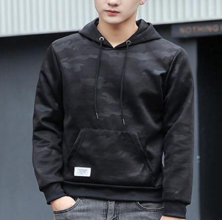 Black camo hoodie for teenage guys plus size clothing