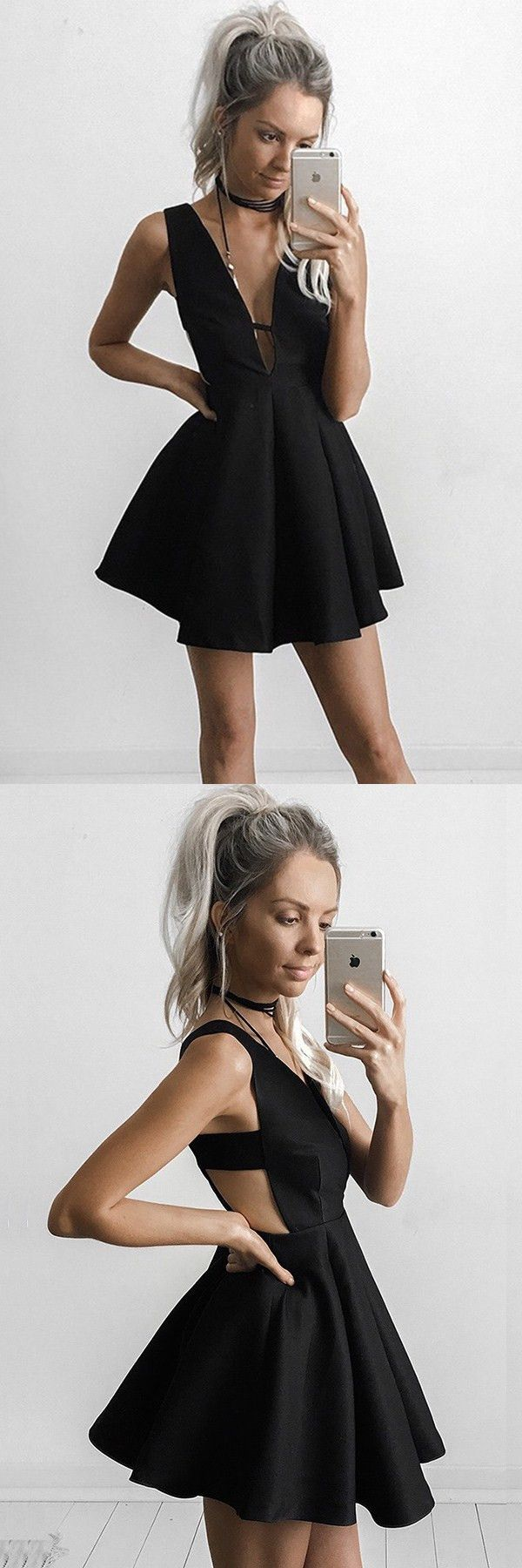 little black dresses, chic deep v-neck party dresses, little sexy homecoming dresses, low -v-neck semi formal dresses