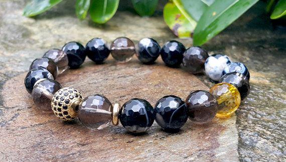 10 mm Gemstone Mens Bracelet Men's Gold Bracelet by Braceletshomme