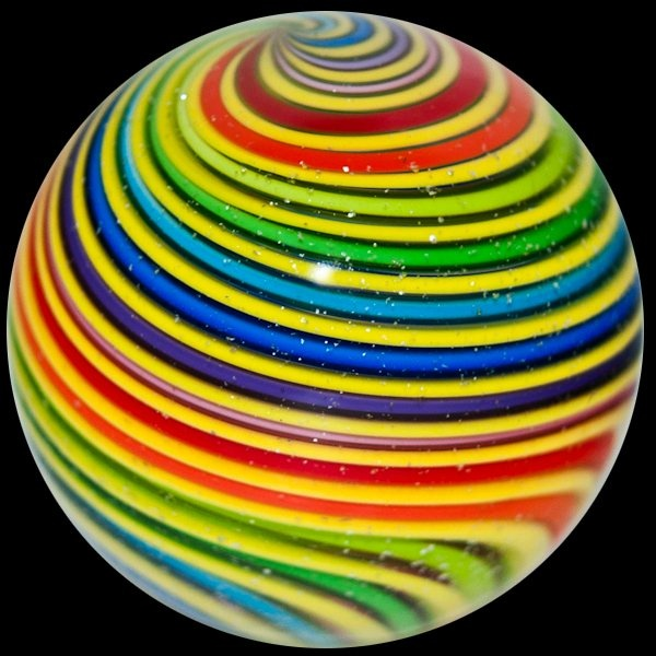 "Glass Marbles, Paperweights & More - Eddie Seese 1 1/2"" Rainbow Swirl Marble"