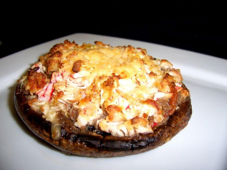 Crabmeat stuffed portobella mushrooms