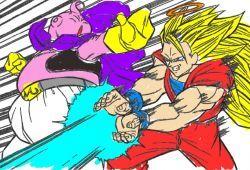 Goku se está enfrentado a Majin Buu gordo en una reñida batalla y usted debe colorear esta imagen con los colores que más le guste. Puedes cambiar la historia de Dragon Ball cambiado los coloreas que desees. Nuestro amigo Goku tiene que usar toda su energía para hacer un devastador ka hame ha con el que puedes cambiar el color de su poder.