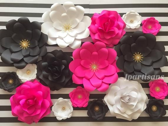 Set Of 17 Paper Flowers Made Of Premium Cardstock Thick Paper