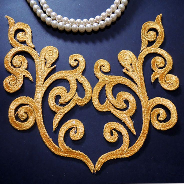 Cheap Patches, Buy Directly from China Suppliers:Free ship Gold thread embroidery clouds motif applique embroidered costume cheongsam dress fabric applique patch