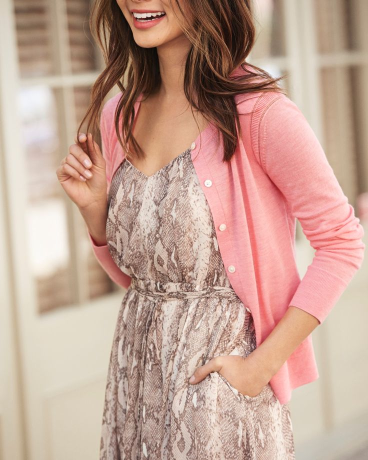 Add a light pink cardigan to a classic snake skin print dress for a effortlessly chic summer ready look. The perfect outfit for an upcoming outdoor garden wedding | Banana Republic