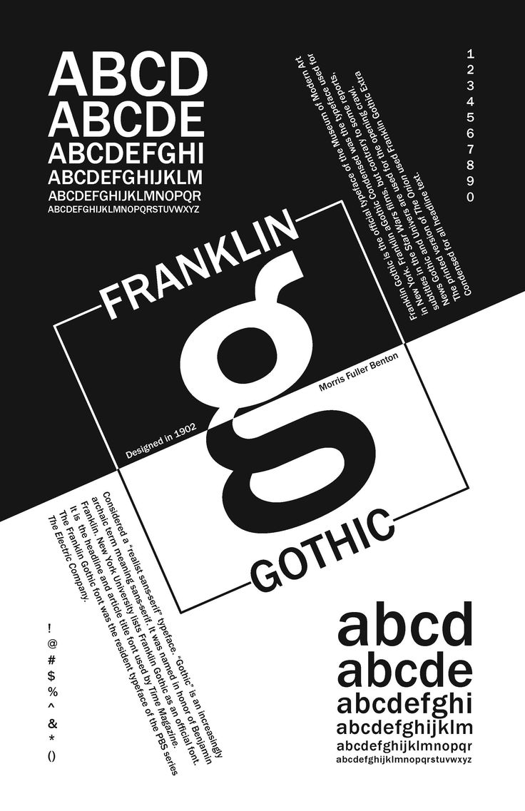 Typeface Franklin Gothic was designed by Morris Fuller Benton. I love how this poster is split in half, and everything is tilted to a diagonal. It reminds me of Cruella de Vil. Very dramatic and makes me want to look at it more.