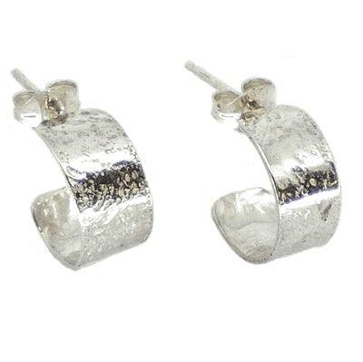 Small dainty textured silver hoop earrings.  Hoop size 11mm  Width 5.5mm  Width 5.5mm