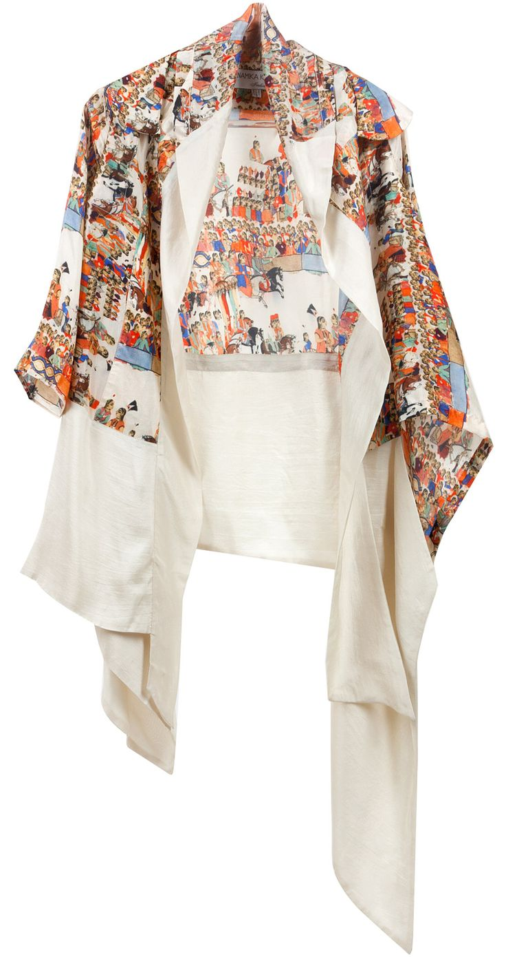 Printed top with ivory dress by ANAMIKA KHANNA. http://www.perniaspopupshop.com/whats-new/anamika-khanna-printed-top-with-ivory-dress-ankc0913016.html
