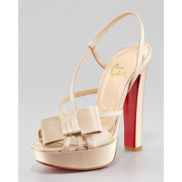 Christian Louboutin: Shoes, Christians, Champagne, Noeud Satin, Discos Noeud, Christian Louboutin, Satin Platform, Platform Sandals, Louboutin Discos