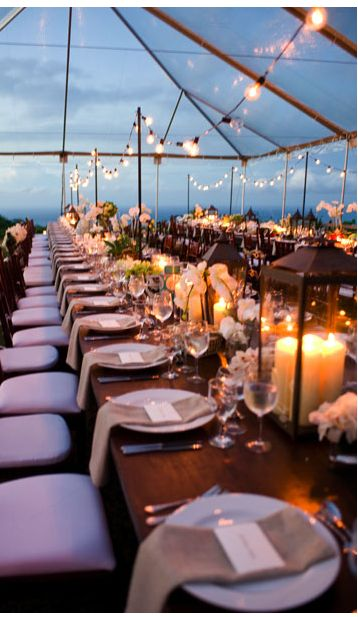 Night Skies ♥ So you booked the most beautiful outdoor venue but it might be too cold for your guests. The solution: Rent a clear tent!