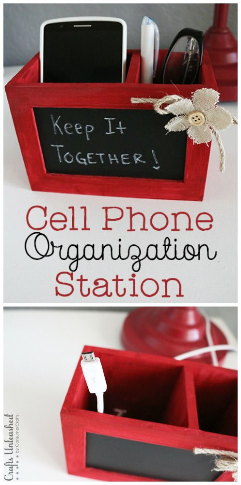This woman has been in my head! I hope I can get as organized as she has. Cell Phone Organizer & DIY Charging Station
