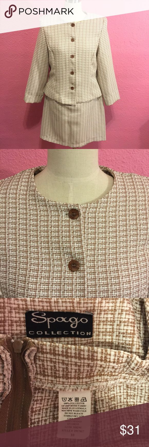 Vintage Spago suit.  Jacket & skirt Vintage Spago suit.  Jacket & skirt    Pics look tan  but it's more pinky/ mauve Spago Dresses