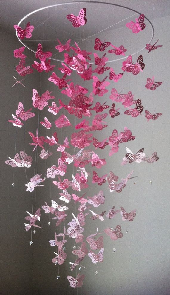 Monarch Butterfly Chandelier   Mobile -Perfectly Pink version II Copy on Etsy, $55.00