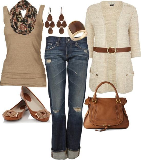 Outfit : Beige Sweater, Tan Tank top, Brown Belt, Flats & purse.  Denim Capri.  Print Scarf. Clothes Casual Outift for • teens • movies • girls • women •. summer • fall • spring • winter • outfit ideas • dates • parties Polyvore :) Catalina