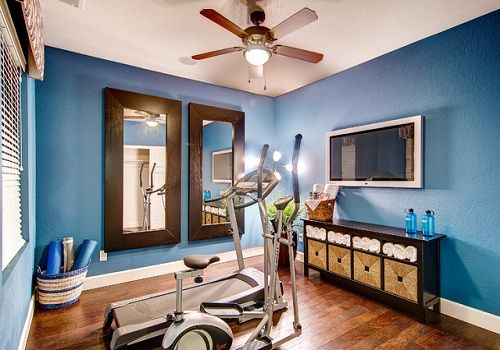Organized home gym - blue walls bring out a peaceful oasis.