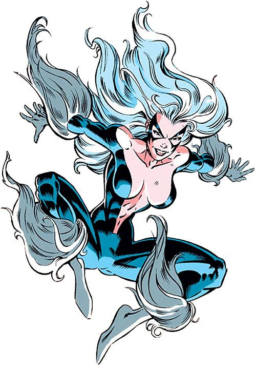 Black Cat (Spider-Man character) (Marvel Comics) leaping with costume open in front. From http://www.writeups.org/black-cat-felicia-spider-man-marvel-comics-3/