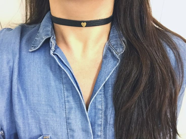 Our chokers are the perfect accessory to any outfit. Handmade with a lovely heart attached to a soft leather strap. Measures 23 inches in length.