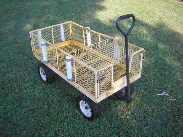 garden cart turned fishing cart. Just add rods, cooler and tackle box.