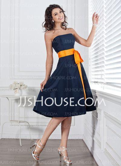 Bridesmaid Dresses - $86.99 - A-Line/Princess Strapless Knee-Length Taffeta Bridesmaid Dress With Sash (007004106) http://jjshouse.com/A-Line-Princess-Strapless-Knee-Length-Taffeta-Bridesmaid-Dress-With-Sash-007004106-g4106
