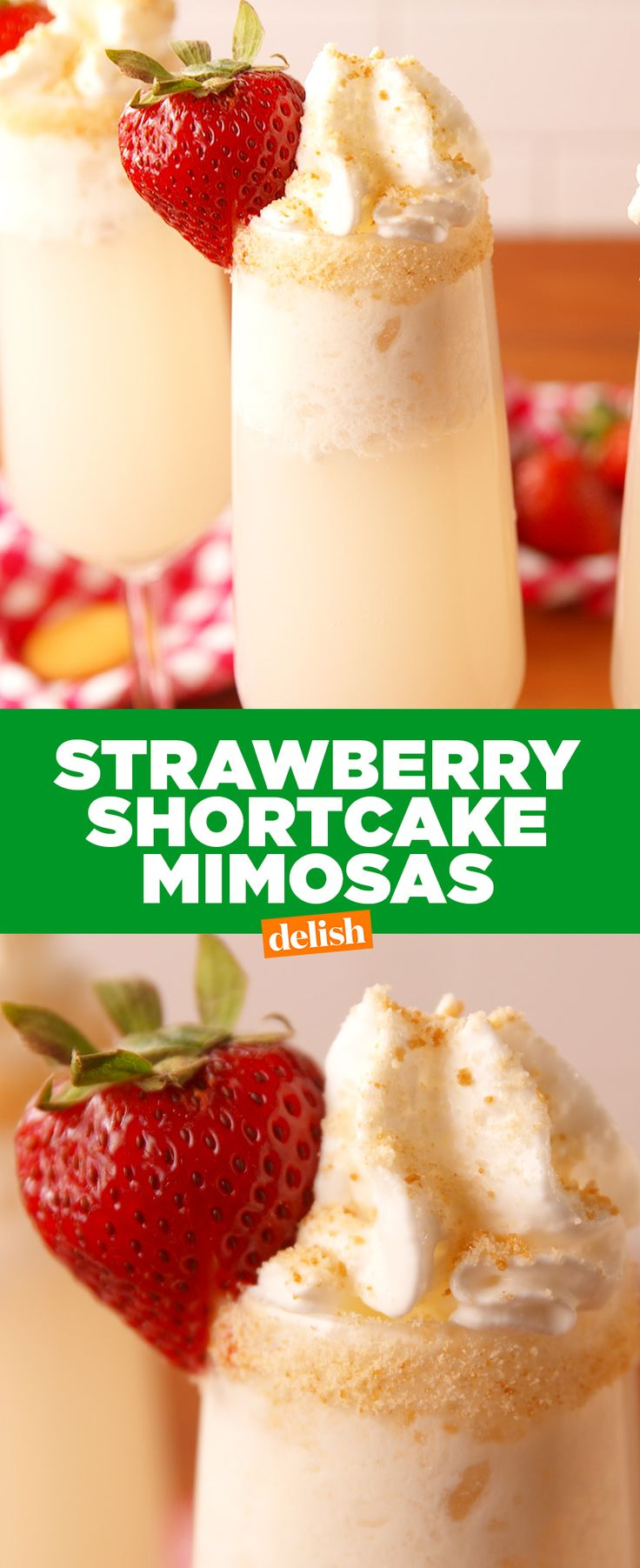 Strawberry Shortcake Mimosas let you have your cake and drink it too. Get the recipe at Delish.com.