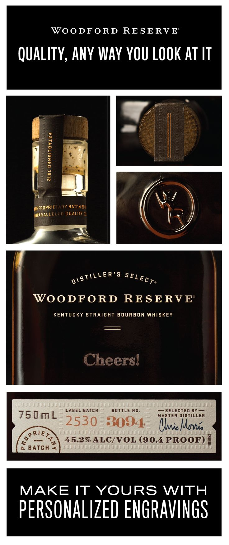 An engraved bottle of Woodford Reserve makes for the perfect holiday gift for the bourbon lover on your list. Order by December 18th to guarantee delivery in time for the holidays.