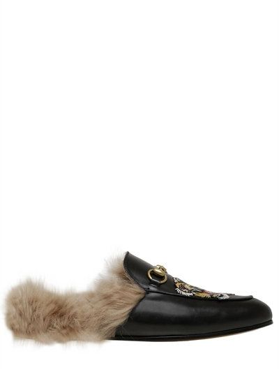 GUCCI PRINCETOWN LEATHER SLIDE MULES WITH FUR