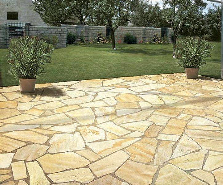 Polygonalplatten Quarzit Brasil Rio Yellow 1 5 2 5cm O 30 70cm Naturstein Terrasse Mediterraner Garten Garten