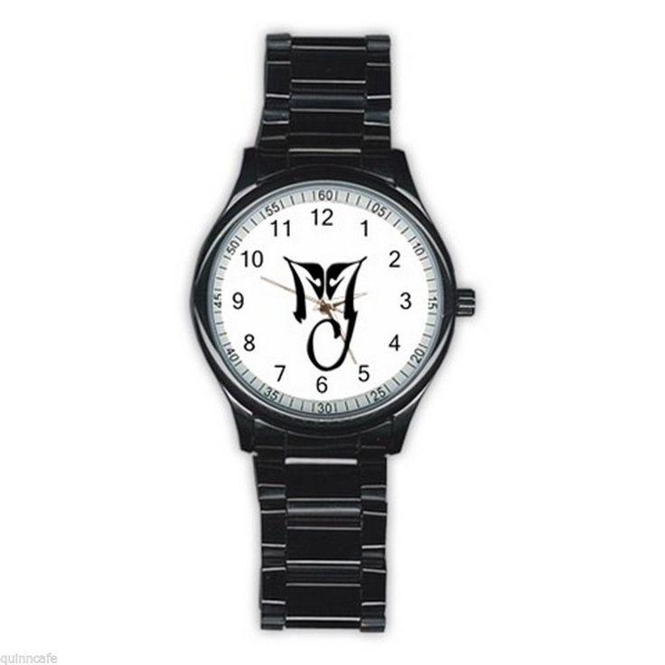 MIchael Jackson Symbol Logo Sign Men's BLACK Stainless Steel Round Analog Watch