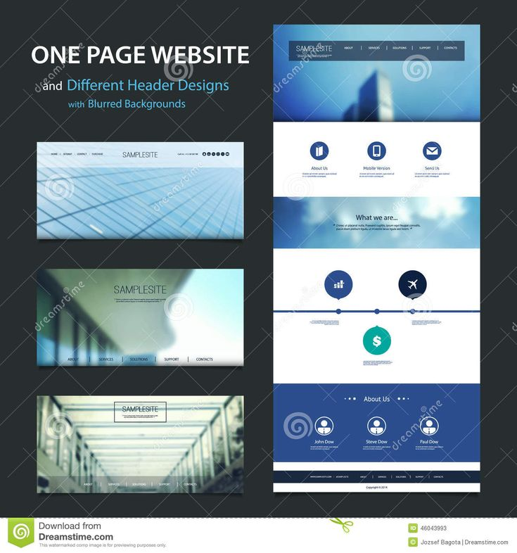 One Page Website Template And Different Header Designs With Blurred Backgrounds Stock Vector - Image: 46043993