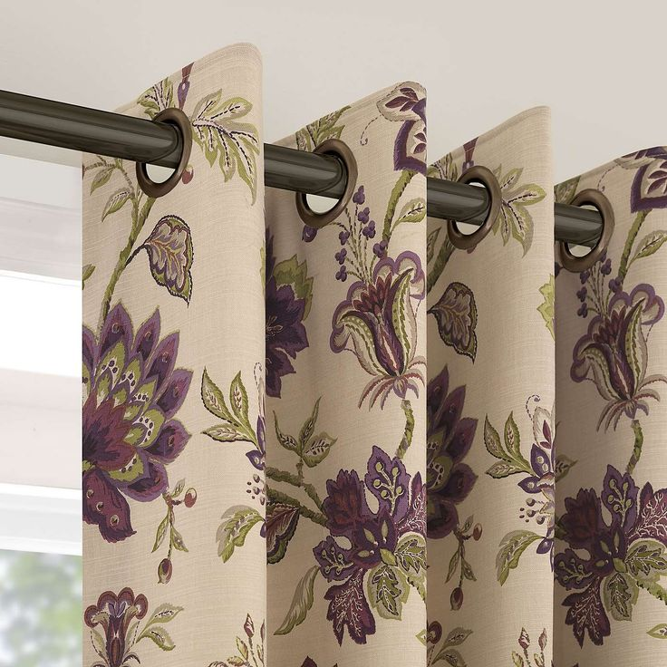 Dorma Bloomsbury Plum Lined Eyelet Curtains   Dunelm