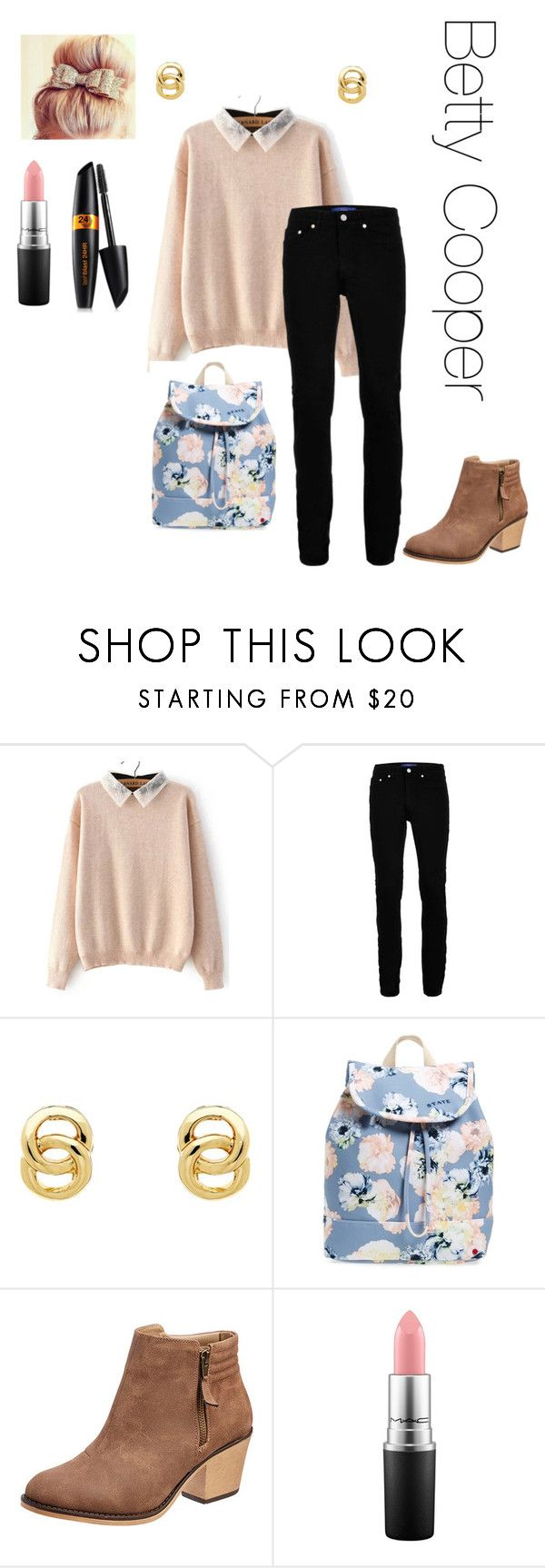 """""""Betty Cooper"""" by thebluedaisy on Polyvore featuring Topman, Monet, STATE Bags and MAC Cosmetics"""