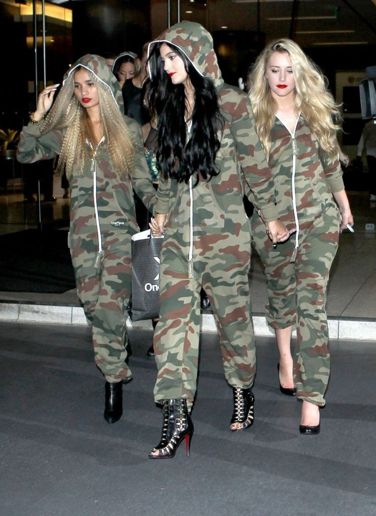 Kylie wearing the Onepiece Camouflage jumpsuit