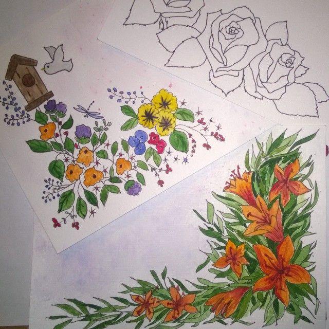 work in progress. postcard. watercolor. flowers