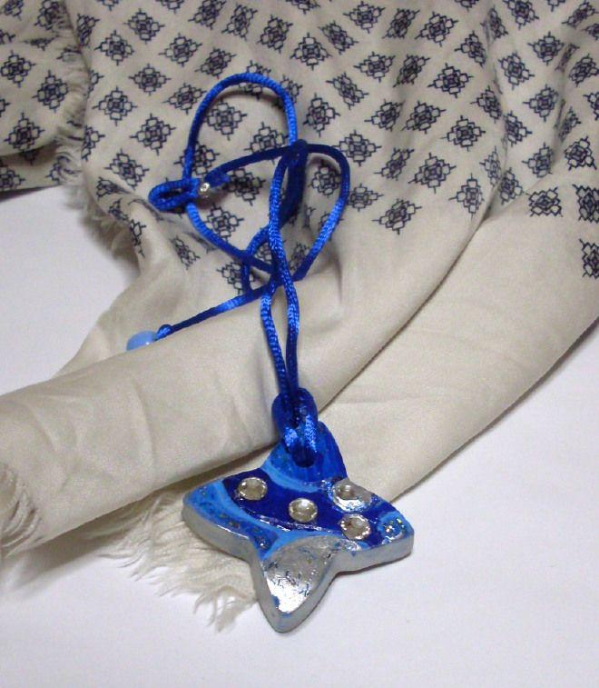 Stella 4 punte blu -collana