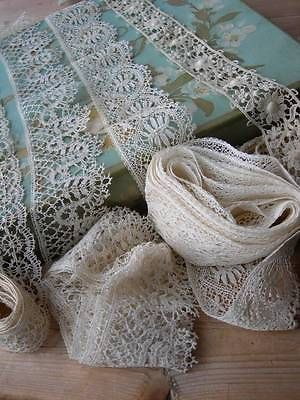 3 lengths antique French handmade bobbin lace + 2 Schiffli lace trim