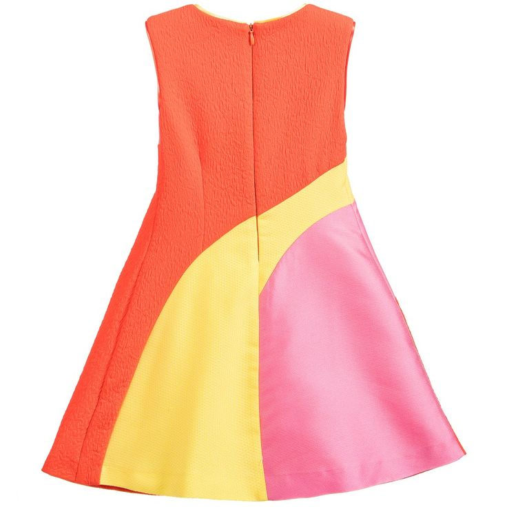 Girls vibrant sleeveless dress by <span>ValMax.  In a classic shift style it is made from different, textured lightweight jacquards that cut across and down the dress in wide yellow, pink and orange stripes. It is fully lined in a soft yellow cotton and has a concealed zip fastening at the back.<br /></span> <ul> <li>45% polyester, 25% cotton, 20% silk, 10% polyamide (softly, textured jacquard feel)</li> <li>Lining: 100% cotton (soft poplin cotton feel)</li> <li>Hand wash (cold)</l...
