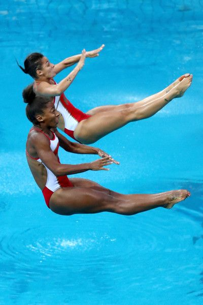 Jennifer Abel and Pamela Ware of Canada compete in the Women's Diving Synchronised 3m Springboard Final on Day 2 of the Rio 2016 Olympic Games at Maria Lenk Aquatics Centre on August 7, 2016 in Rio de Janeiro, Brazil.