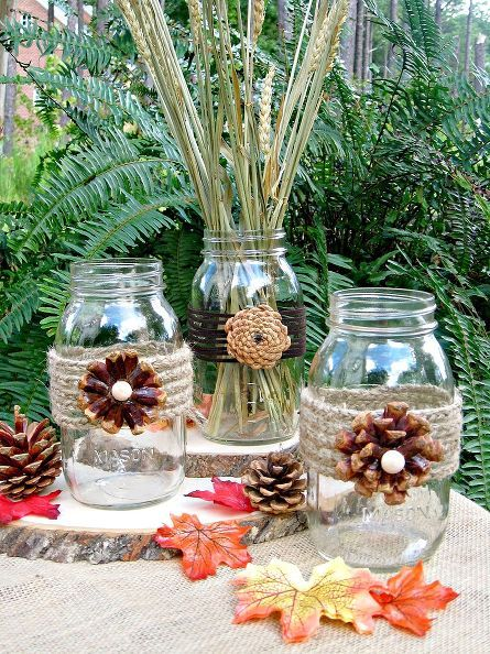 creating pine cone flowers for fall decorating, crafts, mason jars, seasonal holiday d cor, thanksgiving decorations, These pine cone flower vases would be perfect for your fall decor and then onto Thanksgiving