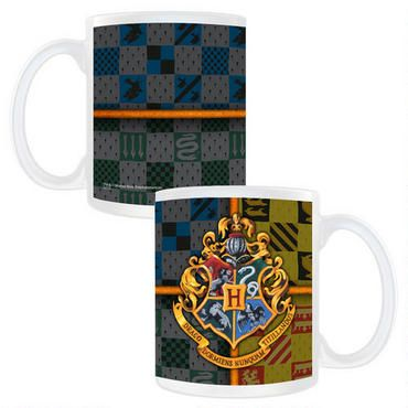 Exclusively ours, this Harry Potter mug features the Hogwarts Crest against a stylish background of the Hogwarts house colors.  This white ceramic mug holds 11 ounces of your favorite hot or cold beverage and is microwave and dishwasher safe.
