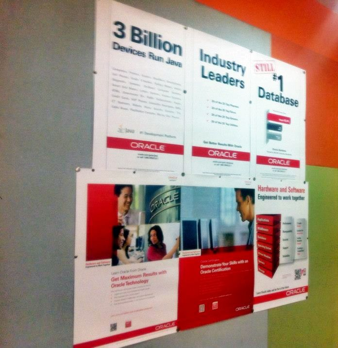 Posters in the Education Centre @Oracle Corporation Corporation Corporation in Bangalore, India show Oracle is STILL #1!  #oracle #education #training #oracleedu #design #india #bangalore #oraclebangalore #ads #posters