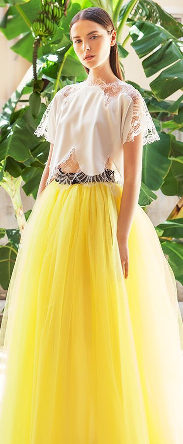 christos costarellos bridal 2015  wedding dress illusion sleeve top yellow tulle ball gown skirt #yellowdress #ballgown