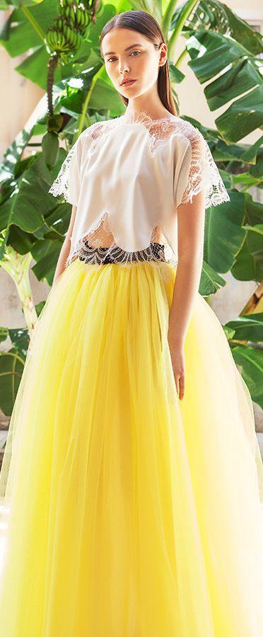 christos costarellos bridal 2015  wedding dress illusion sleeve top yellow tulle ball gown skirt #yellowdress #ballgown