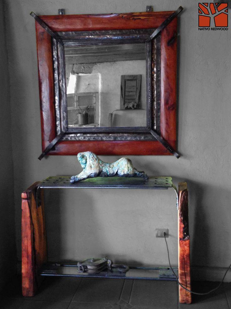 Nativo redwood espejo con marco de roble r stico con for Espejos con marco color plata