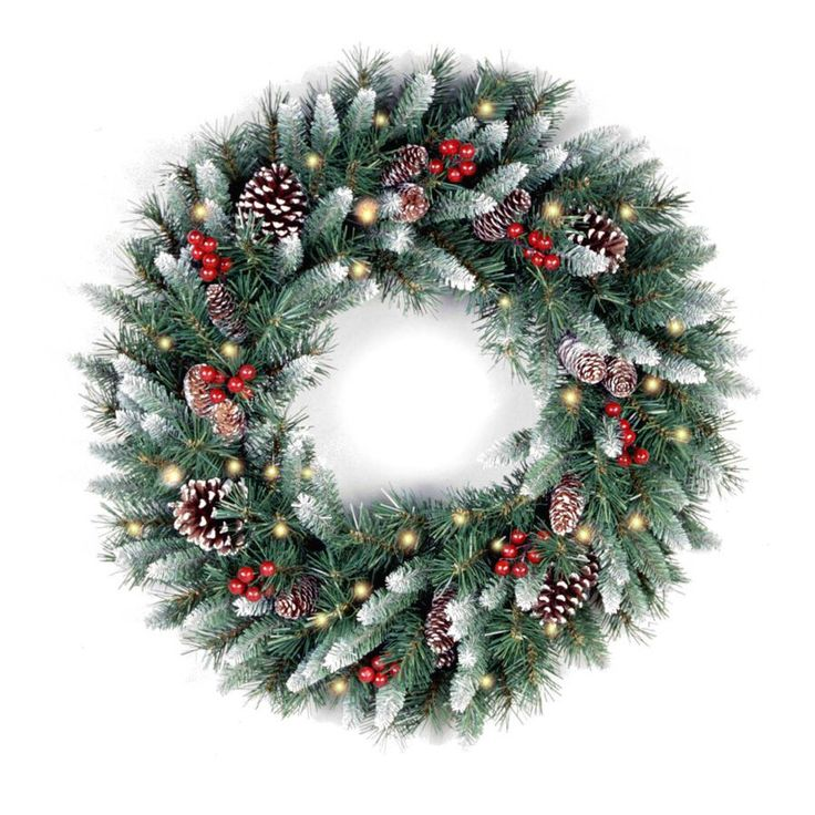 Frosted Berry Pre-Lit Wreath
