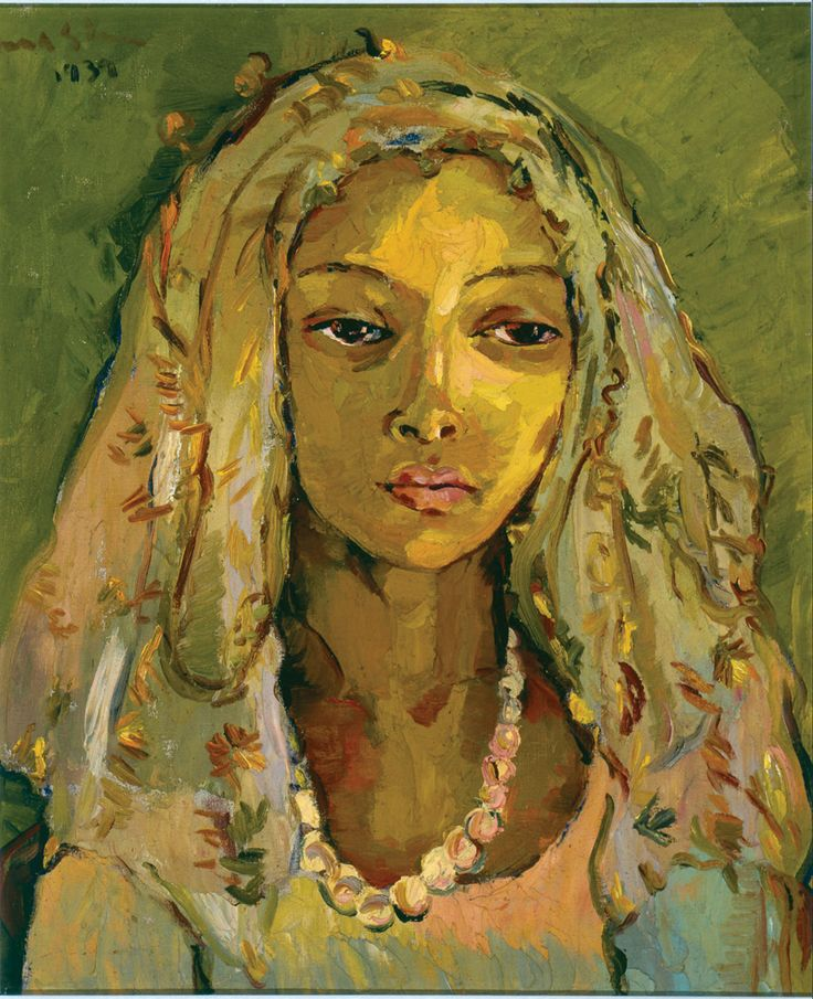 """Portrait of a young Malay girl"", oil on canvas by Irma Stern."